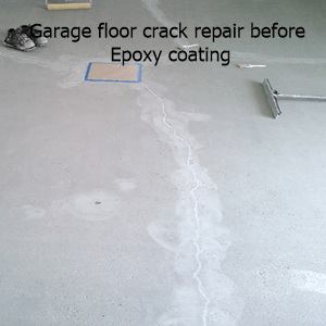 garage floor cracke repair before epoxy floor coating