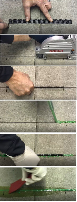 Easy install of grid staple stitch