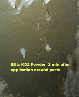 Using Kd2 Blitz to seal in low pressure injection ports for polyurethane