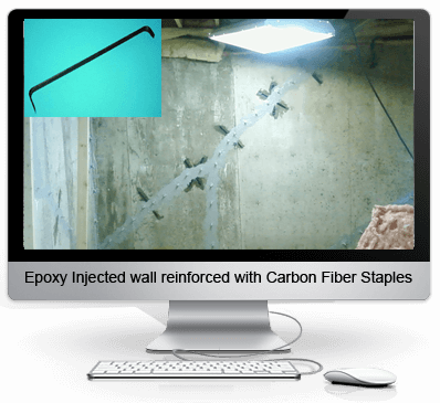 Concrete reinforcement with carbon fiber staples after epoxy injection