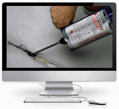 Concrete floor crack repair with 10 minute mender and emecole e555